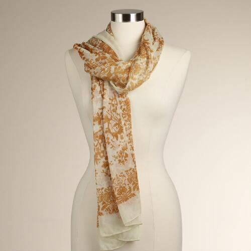 Ivory and Golden Floral Scarf