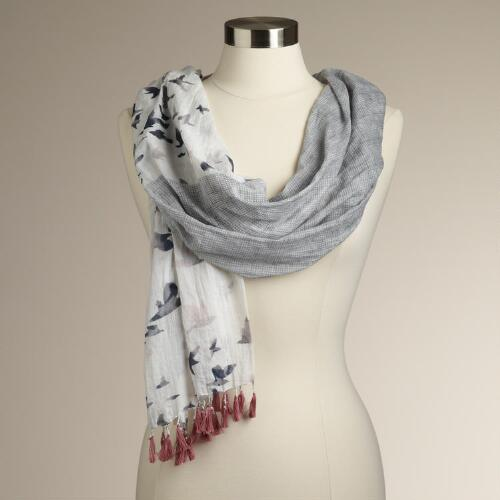 Gray and Rose Bird Print Scarf
