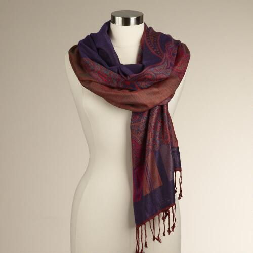 Plum Jacquard Shawl with Paisley Border