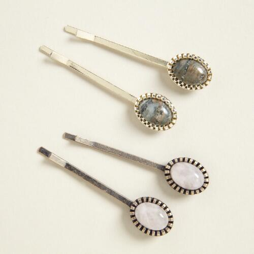 Stone Hairpins, Set of 2