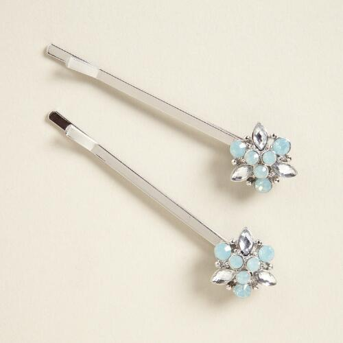 Aqua and Crystal Flower Hairpins, Set of 2
