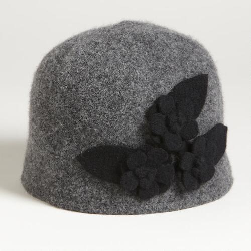 Gray Wool Cap with Black Flowers