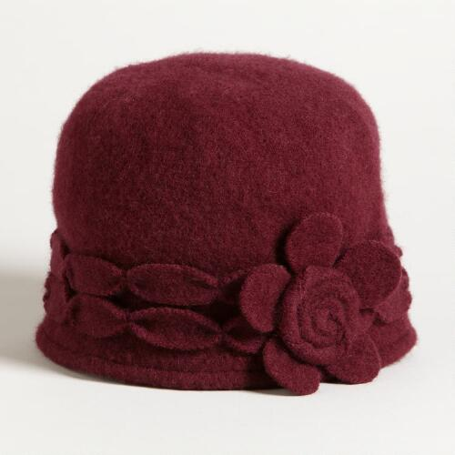Burgundy Wool Flower Cap