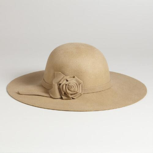 Camel Floppy Wool Hat with Flowers