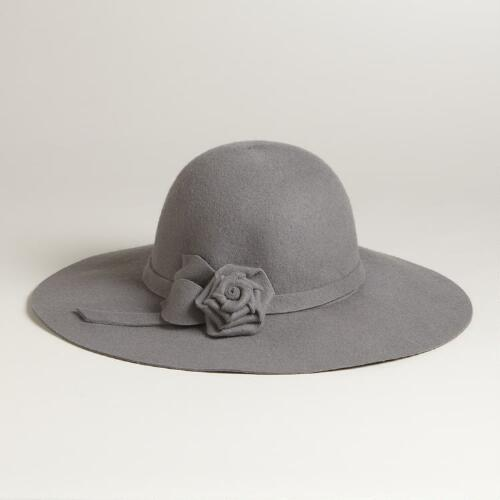 Gray Floppy Wool Hat with Flowers