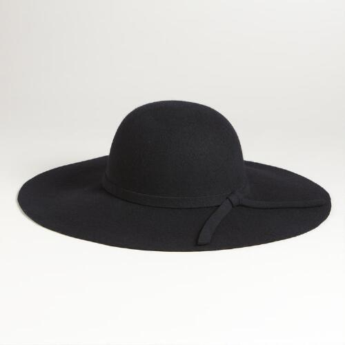 Black Floppy Wool Hat