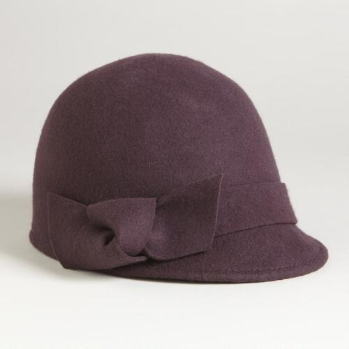 Plum Cadet Cloche with Bow