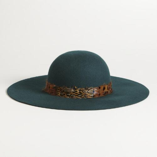 Green Floppy Wool Hat with Feather Band