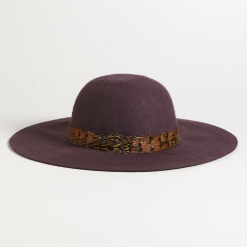 Plum Floppy Wool Hat with Feather Band