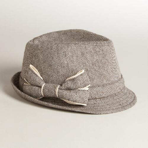 Tweed Fedora with Bow