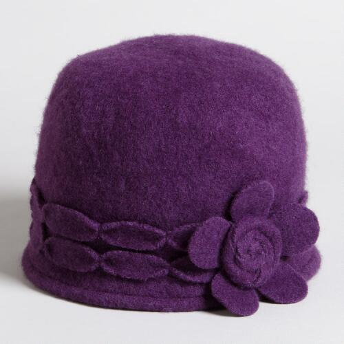 Plum Wool Cap with Flower