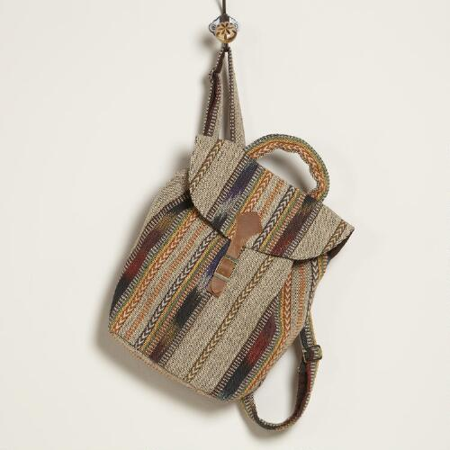 Earthy Striped Carpet Backpack