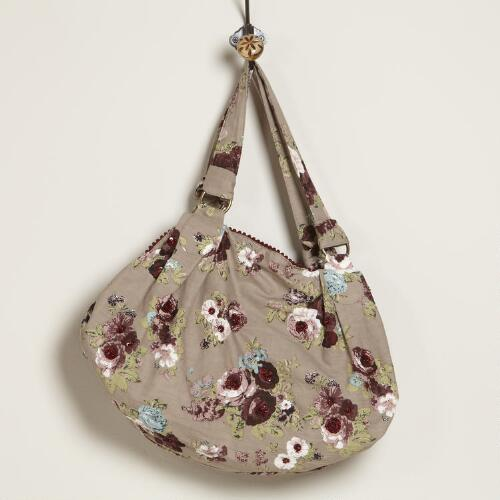 Taupe Floral Satchel Bag