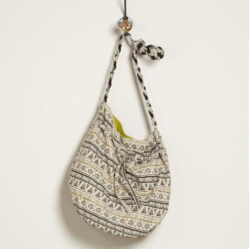 Ivory and Black Tribal Bucket Bag