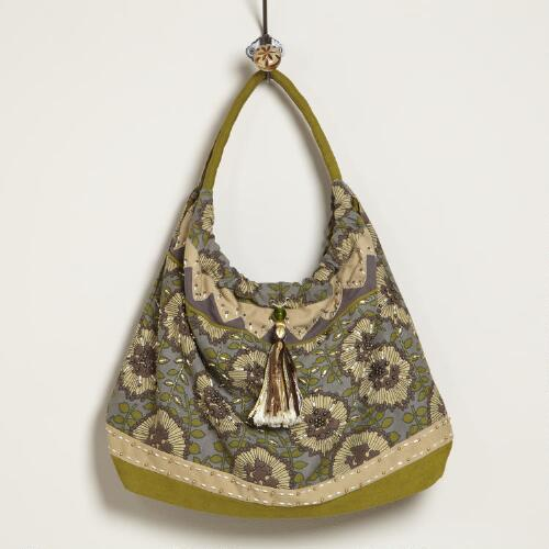 Gray and Green Floral Bag