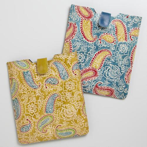 Paisley Leather Tablet Computer Sleeve