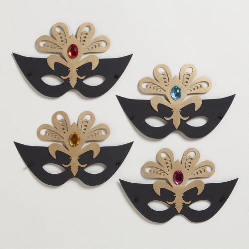Assorted Paper Masks with Jewels, Set of 4
