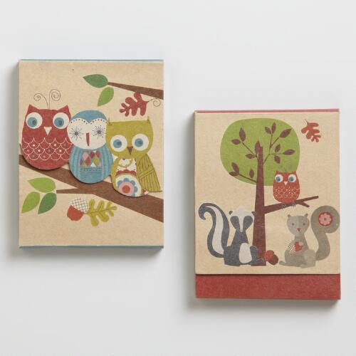 Assorted Owl and Squirrel Purse Pads, Set of 2