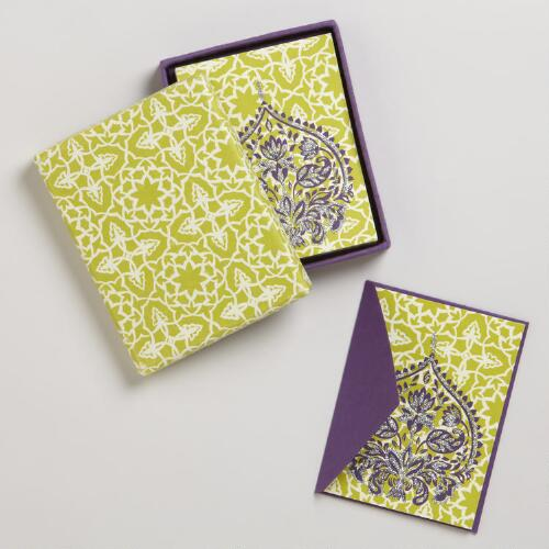 Green and Purple Glitter Handmade Boxed Cards