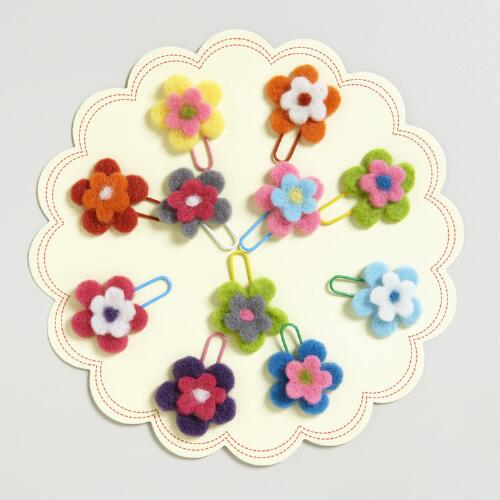 Flower Felt Paper Clips, Set of 15