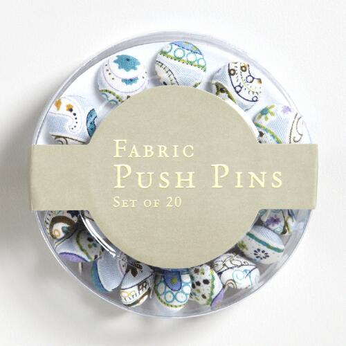 Fabric Covered Push Pins, Set of 20