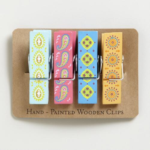 Wooden Paper Clips, Set of 4
