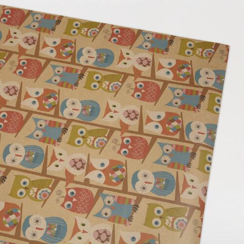 Owls in Tree Kraft Wrap