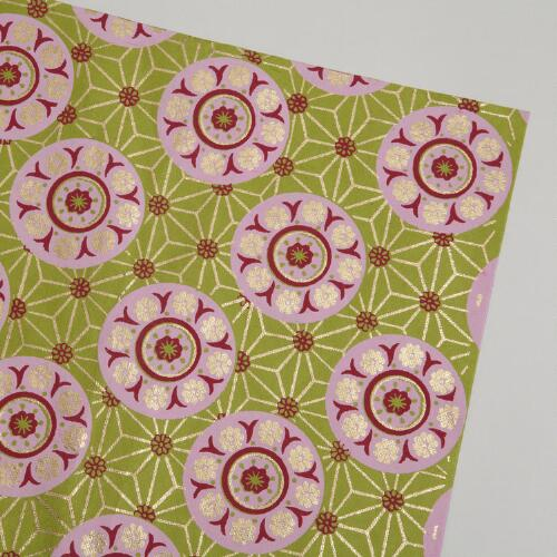 Pink and Green Medallion Handmade Gift Wrap