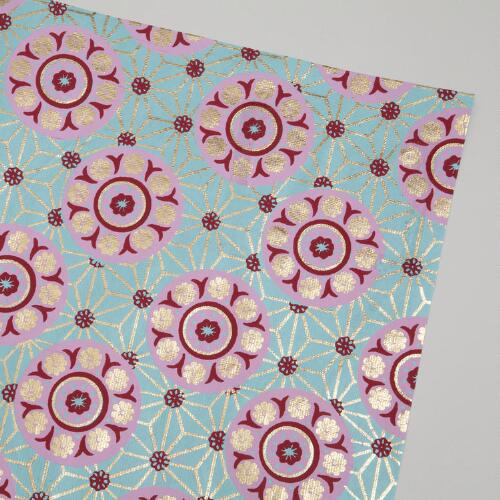 Pink on Turquoise Medallion Handmade Gift Sheets, Set of 3