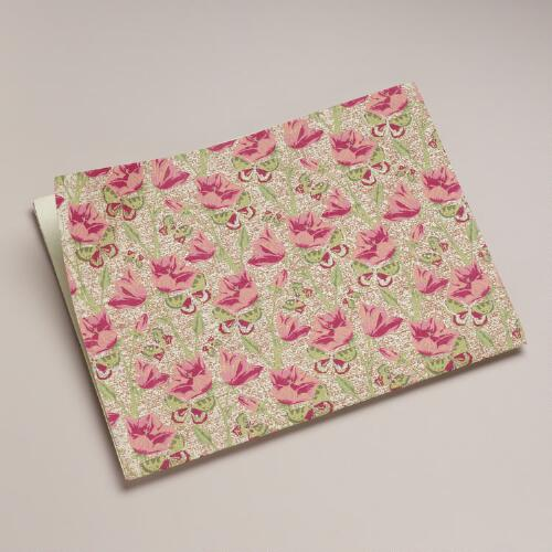 Pink Poppies Handmade Gift Wrap Sheet