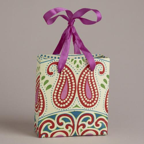 Mini Pink Two-Paisley Handmade Gift Bag