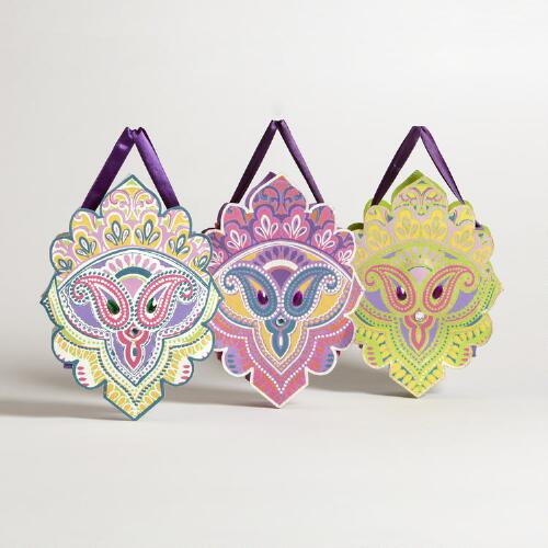Small Die-Cut Venetian Mask Gift Bags, Set of 3