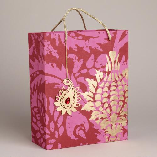 Large Red Goyal Die-Cut Handmade Gift Bag