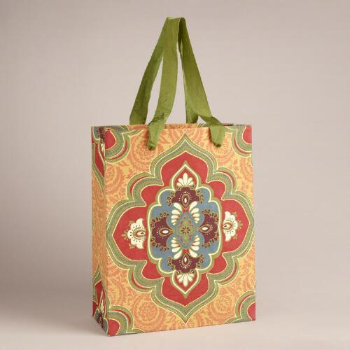 Large Yellow Marrakesh Medallion Handmade Gift Bag