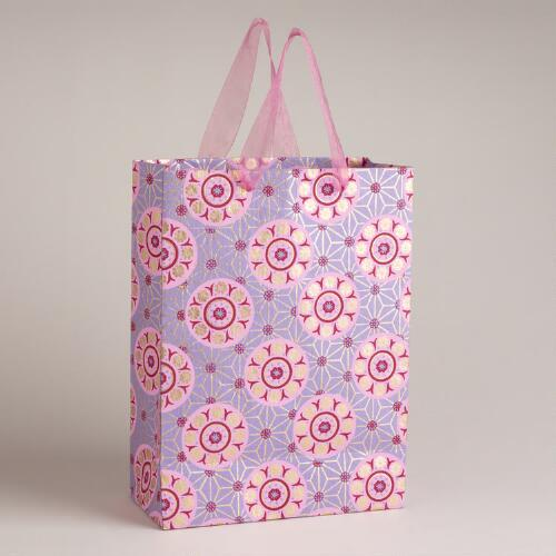 Large Purple Circle Jewel Print Handmade Gift Bag