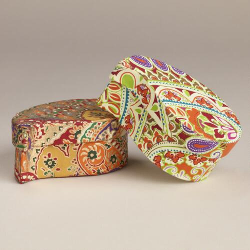 Small Paisley Boxes, Set of 2