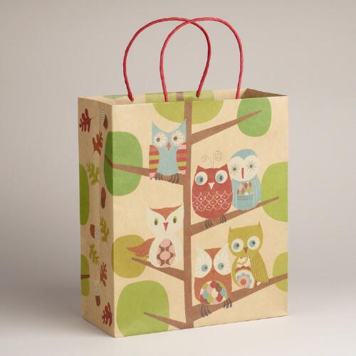Large All Owls in Tree Kraft Bag