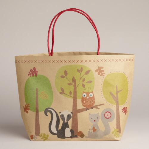 Squirrels and Red Owl Market Kraft Bag