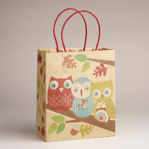 Medium Three Owls Kraft Bag