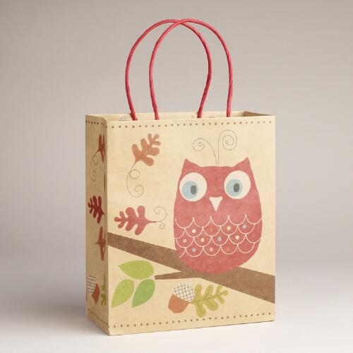 Medium Red Owl Kraft Bag