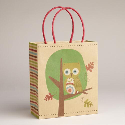 Small Green Owl in Tree Kraft Bag