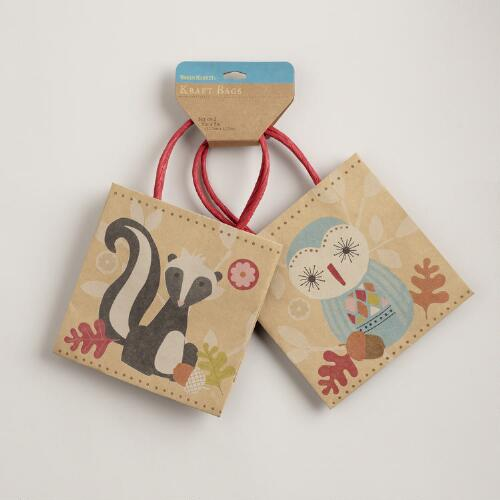 Skunk and Owl Mini Kraft Bags, Set of 2