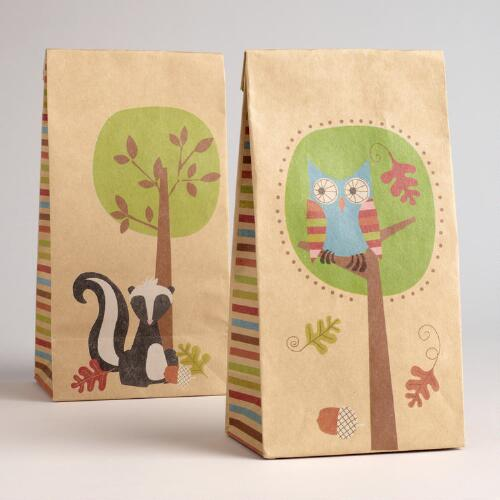 Owl Kraft Goody Bags, Set of 6