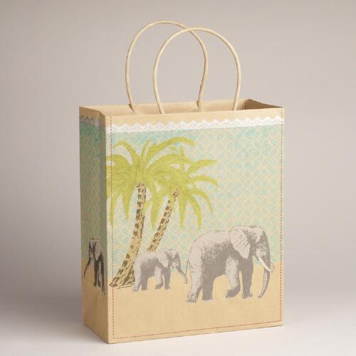 Large Elephant Animalia Kraft Bag
