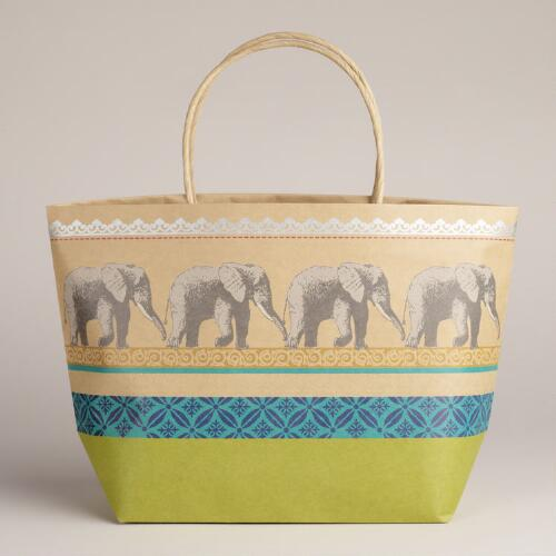 Elephant Animalia Market Kraft Bag