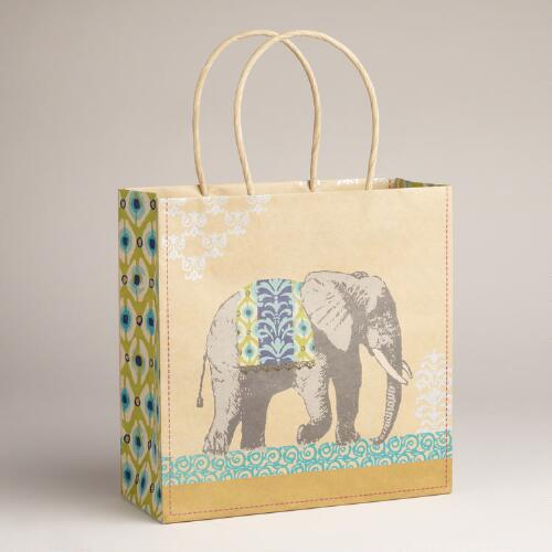 Medium Elephant Animalia Kraft Bag
