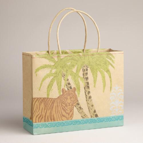 Medium Tiger Animalia Kraft Bag