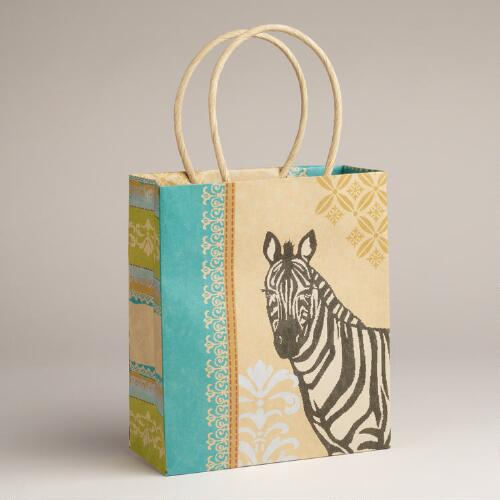 Small Zebra Animalia Kraft Bag