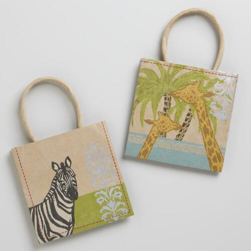 Mini Animalia Kraft Bags, Set of 2