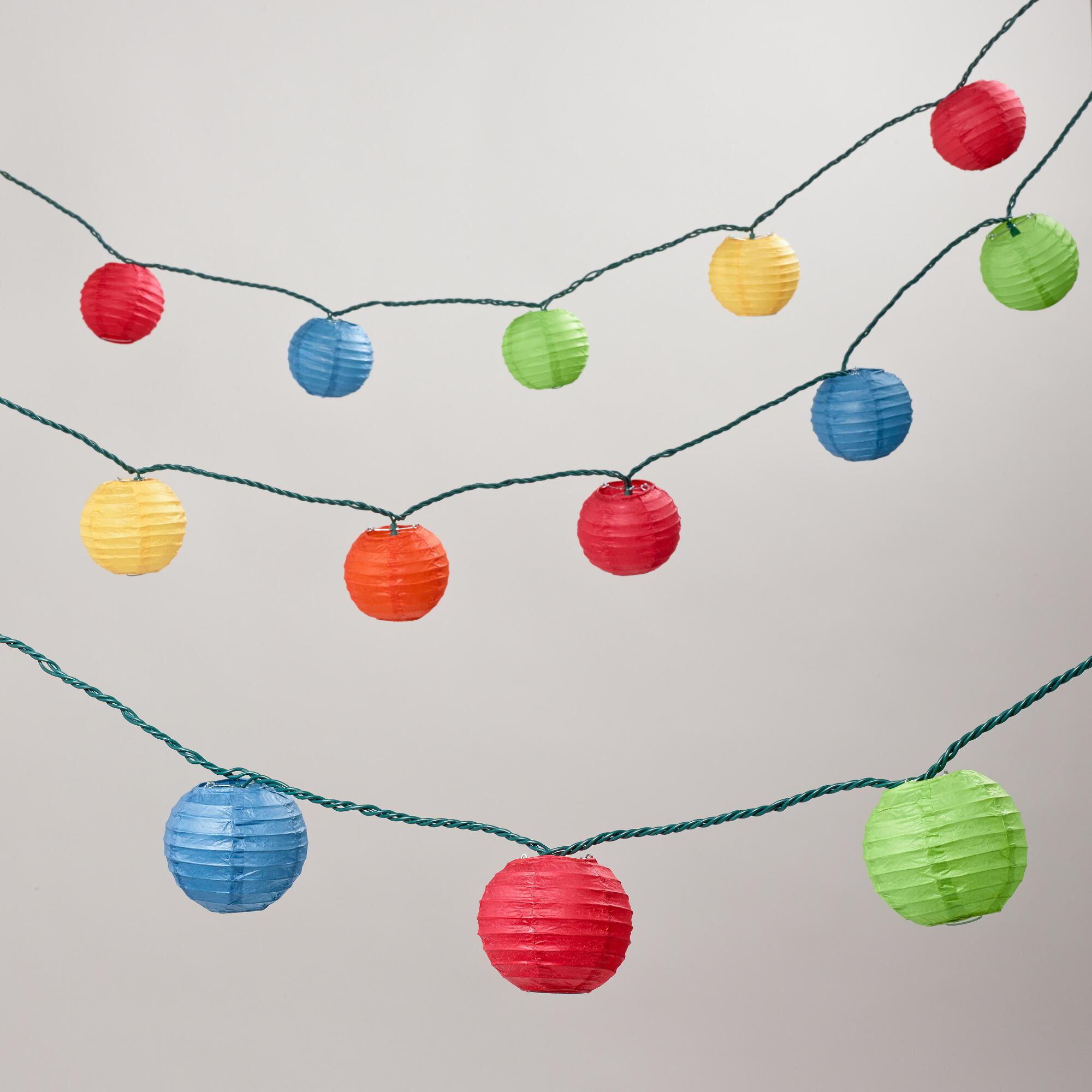 Colorful String Lights : Multi-Color Paper 10 Bulb String Lights World Market